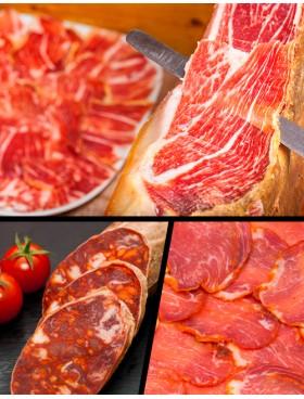 Lote de Ibericos (Jamón cebo campo + 1/2 Lomo iberico + Chorizo iberico de bellota)
