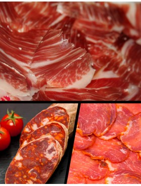 Lote degustacion (3 loncheados Jamón Ibérico + 1/2 Lomo Iberico +Chorizo Iberico de Bellota)
